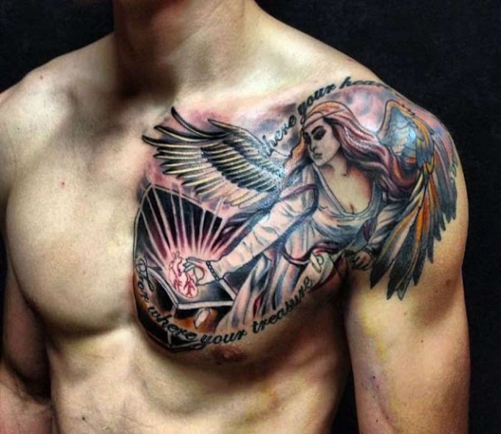 50 Best And Awesome Chest Tattoos For Men Tattoos Me Throughout Tattoo On Chest Chest Tattoo Men Cool Shoulder Tattoos Angel Tattoo Men