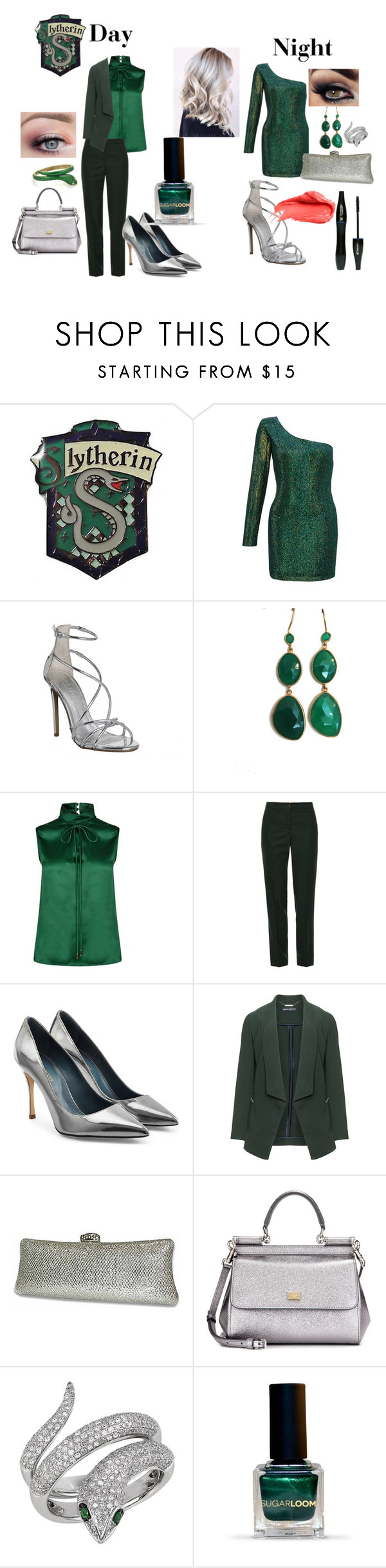 """Slytherin Style"" by nchavez113 on Polyvore featuring Ariella, Office, Lancôme, Blue Candy Jewelry, Dsquared2, Tory Burch, Sergio Rossi, Urban Decay, Manon Baptiste and Dolce&Gabbana"