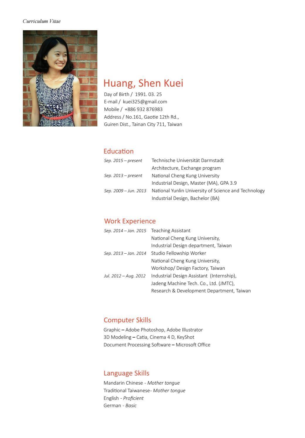 Shen Kuei Huang_Portfolio Portfolio, Curriculum