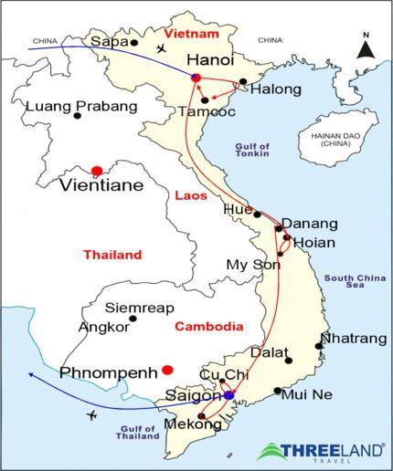VIETNAM - THE HERITAGE WAY Route: Hanoi Halong Boat Phat Diem - Ninh Binh - Hue - Hoi An My Son - Saigon - Tay Ninh - Cu Chi - Mekong Delta Saigon (Or Phnompenh) Duration: 13 days / 12 nights. For more information, Please visit: http://www.threeland.com...
