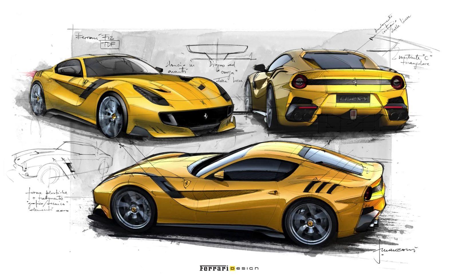Ferrari F12tdf Design Sketches By Flavio Manzoni Sketch Bolpoin Standard R8