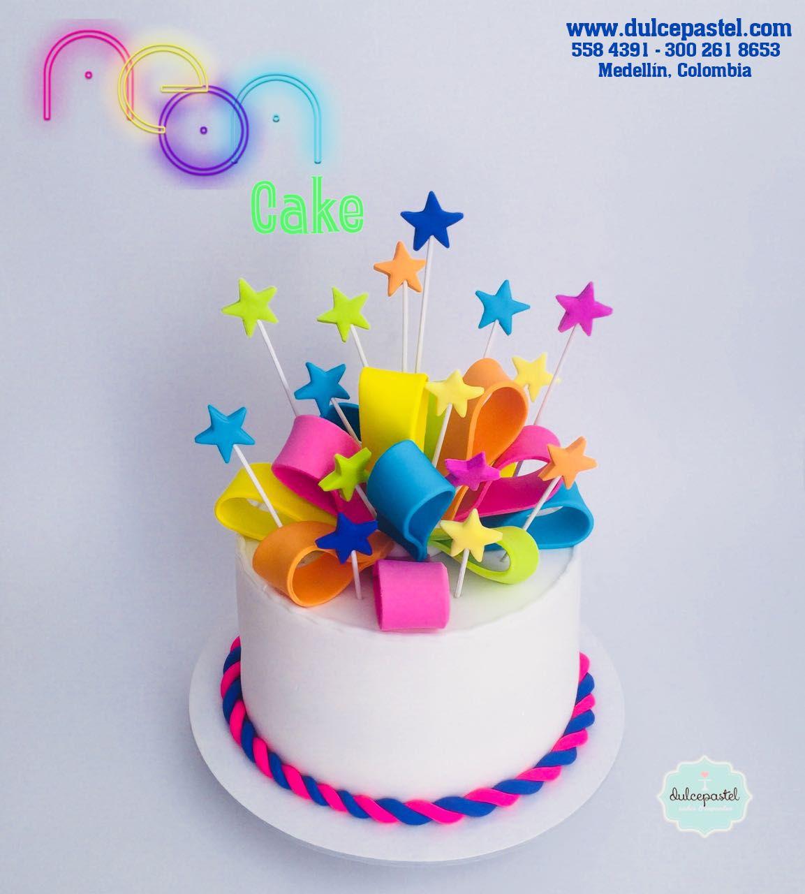 Torta Nen en Medelln por Dulcepastelcom Neon Cake in Medellin