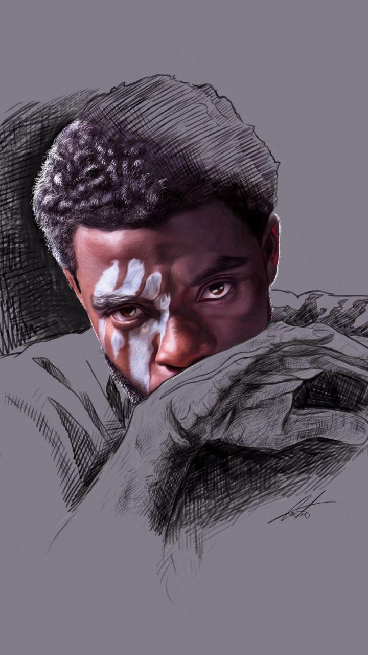 Black Panther Chadwick Boseman Minimal Artwork 720x1280 Wallpaper Black Panther Art Black Panther Marvel Black Panther Drawing