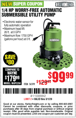 Drummond 1 4 Hp Worry Free Automatic Submersible Utility Pump For 99 99 In 2020 Submersible Utility Pump Utility Pumps Harbor Freight Tools