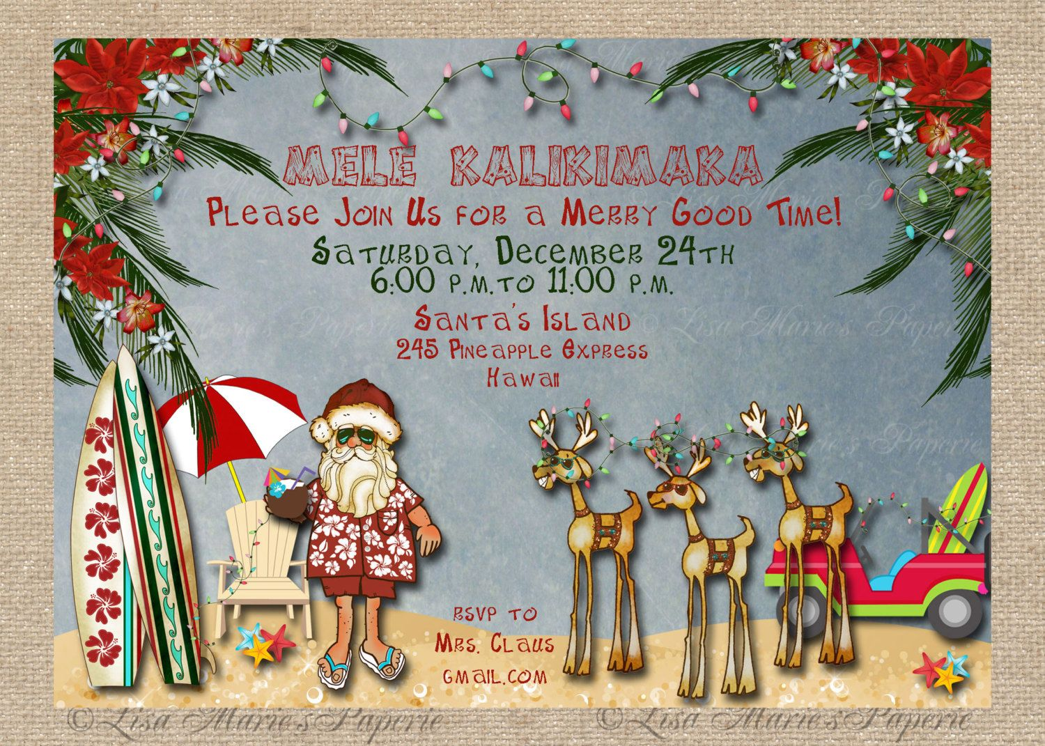 Hawaiian Christmas Party Ideas Part - 20: Hawaiian Christmas Party Invitation Santa By LisaMariesPaperie