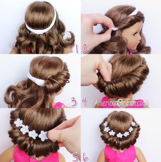 Doll Hairstyle Headband Tuck Bun Americangirlfan Doll Hair American Girl Doll Hairstyles American Girl Hairstyles