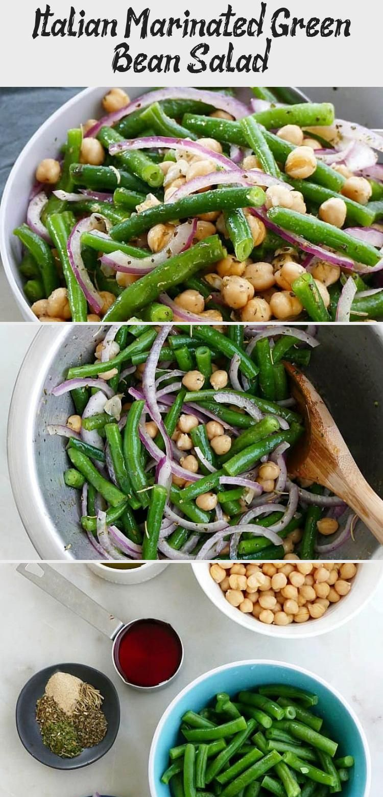 Italian Marinated Green Bean Salad - a healthy green bean salad marinated in homemade Italian dressing. This cold green bean salad is the perfect summer potluck or cookout dish. So fresh and delicious! Vegan and paleo. #saladBuah #Simplesalad #Kalesalad #Greensalad #saladPommeDeTerre