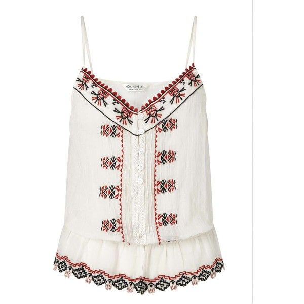 Miss Selfridge Contrast Embroidered Cami ($44) ❤ liked on Polyvore featuring intimates, camis, assorted, ivory camisole, cotton cami, miss selfridge, cotton camisole and red cami
