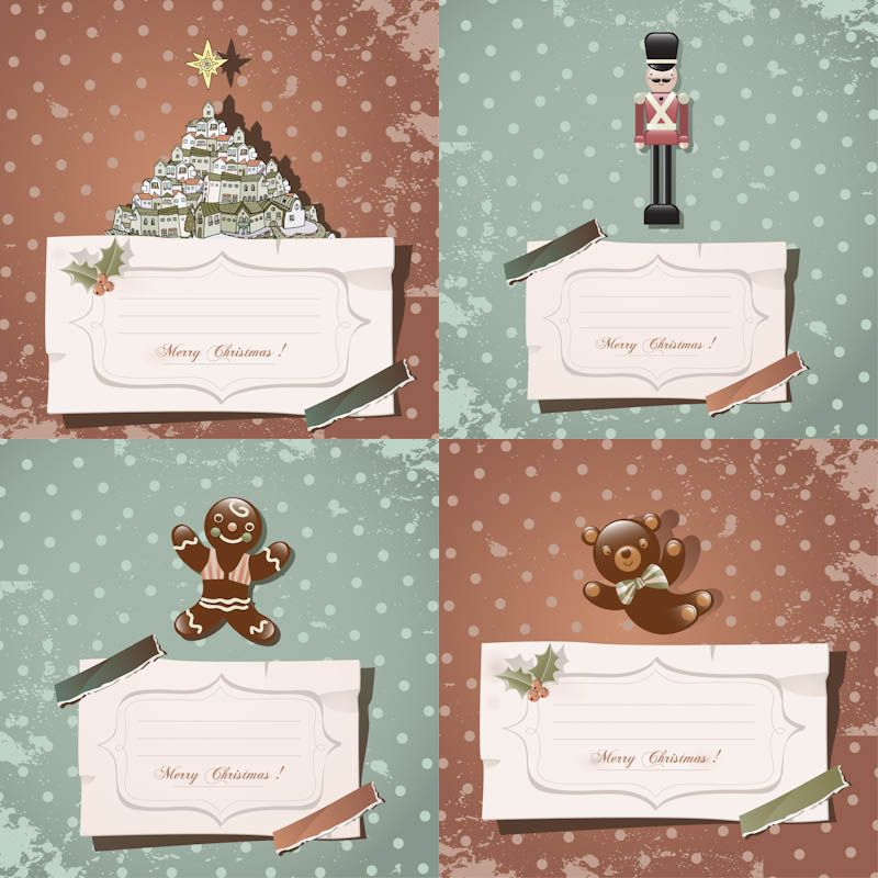 Retro Christmas card templates vector Vectors Pinterest - free xmas card template