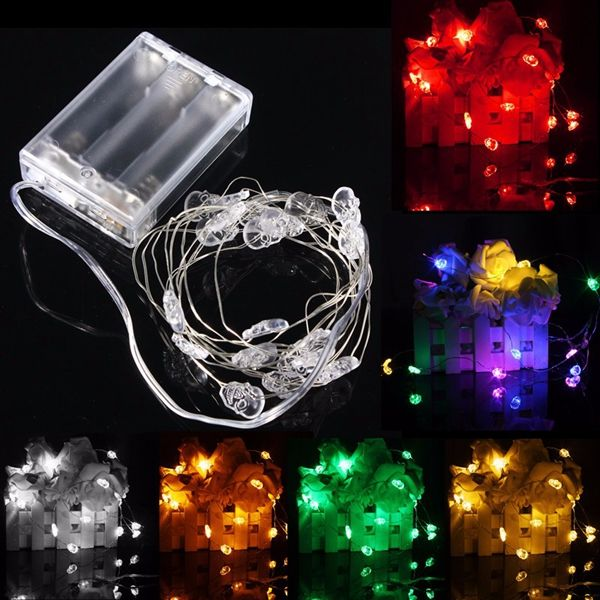 2M 20 LED Skull Style Battery Operated Xmas String Fairy Lights - outdoor christmas decorations wholesale