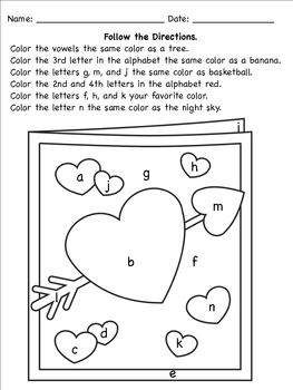 valentine 39 s following directions coloring worksheets school following directions activities. Black Bedroom Furniture Sets. Home Design Ideas