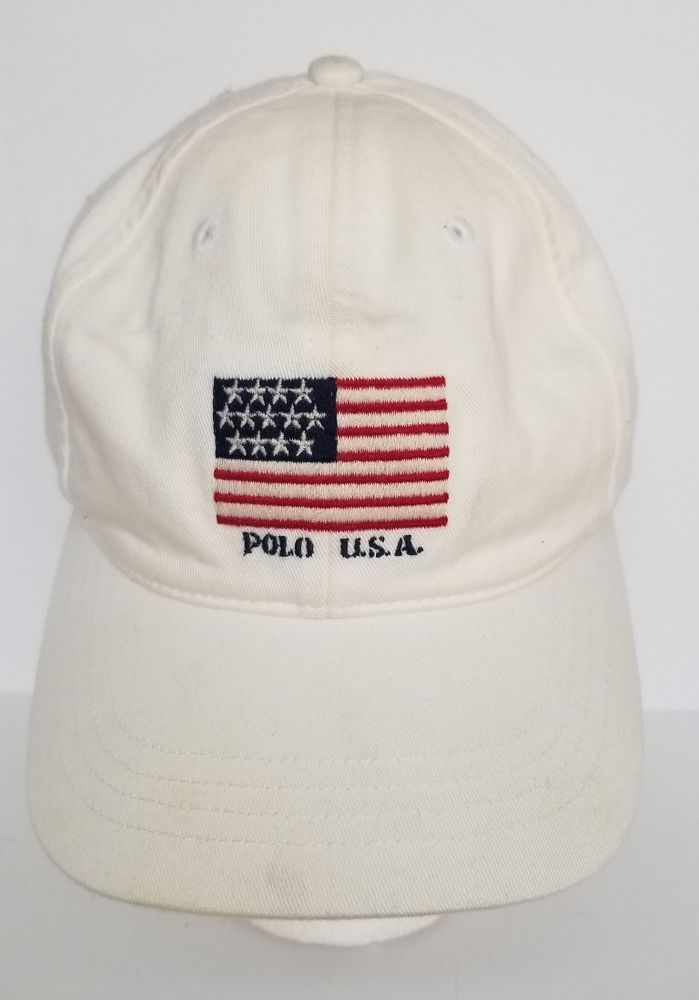 43c48fb6bbec6 Vintage Polo Sport Hat Flag USA 90s Cookie Wing Ralph Lauren White