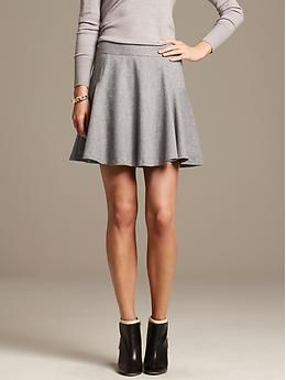 d4fcb8003849cd Gray Flannel Fit-and-Flare Skirt- Banana Republic | Fashion Wish ...