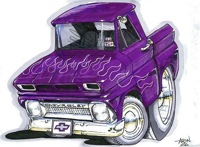 Cartoon 64 Chevy Truck Hotrod By Jchav62 Via Flickr With Images