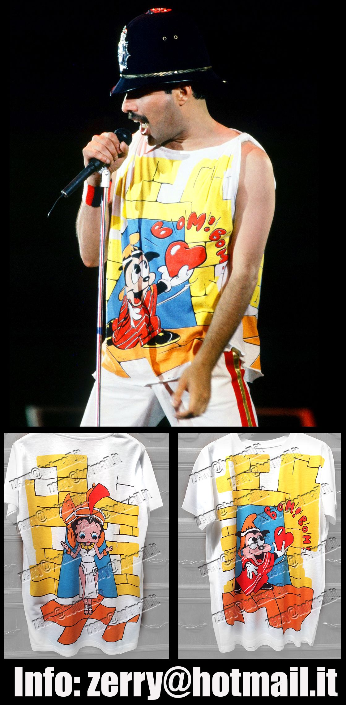 3f82cdbef T-Shirt Freddie Mercury Wembley 86 Betty Boop Queen Rare Memorabilia  COLLECTORS' ITEM ! Authentic reproduction of famous T-shirt worn by Freddie  Mercury ...