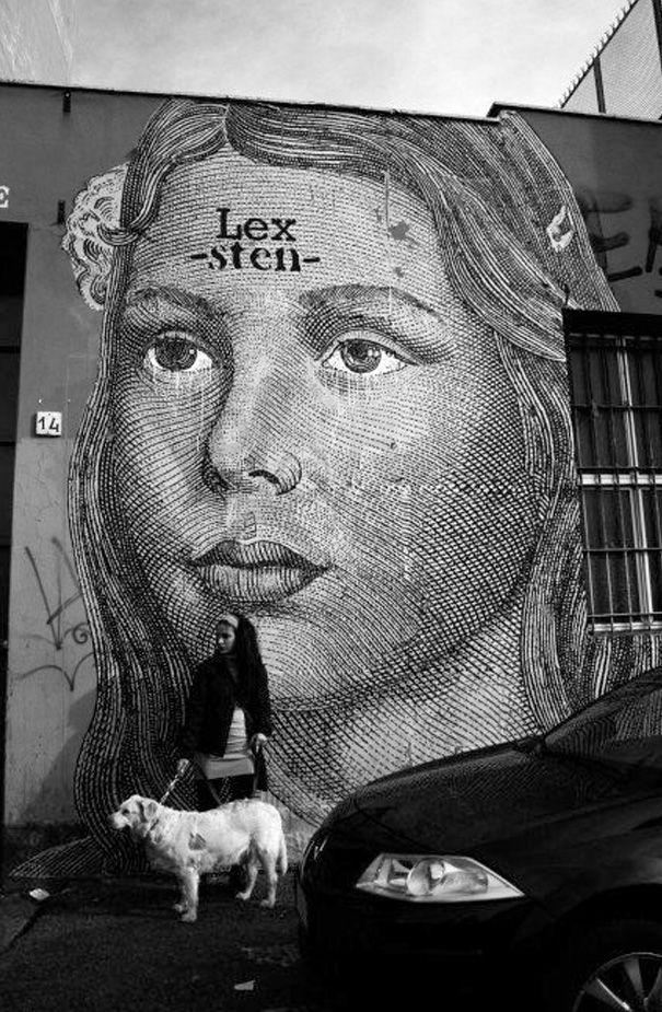 Sten lex rome 2009 hand painted poster wheatpaste best street art3d
