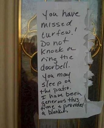 Child problems at home such as imposing a curfew. Now the question is, was it the wife/husband or the teenager??