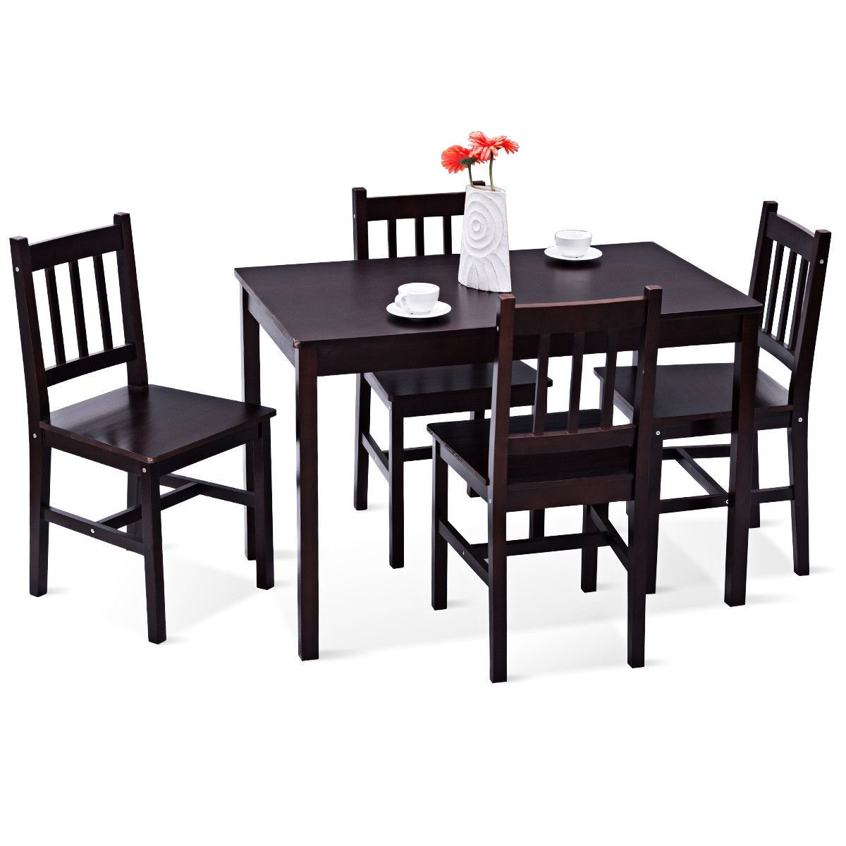 5 Pcs Wood Dining 4 Chairs Table Set Black Dining Furniture