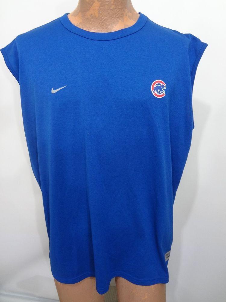 Chicago cubs mlb baseball nike blue sleeveless shirt mens