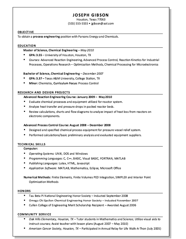 Process Engineer Resume Example Process Engineering High School Chemistry Labs Resume Examples