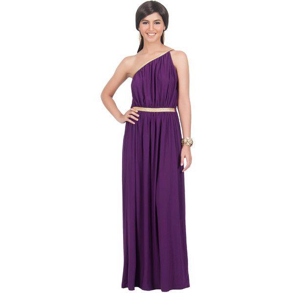 one shoulder maxi purple