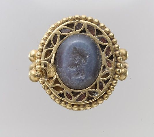 Intaglio in ring  Period: Migration Date: 7th century A.D. Culture: Langobardic Medium: Chalcedony, gold Classification: Gems