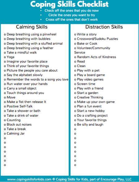 Coping Skills Checklist Isc Pinterest Coping Skills