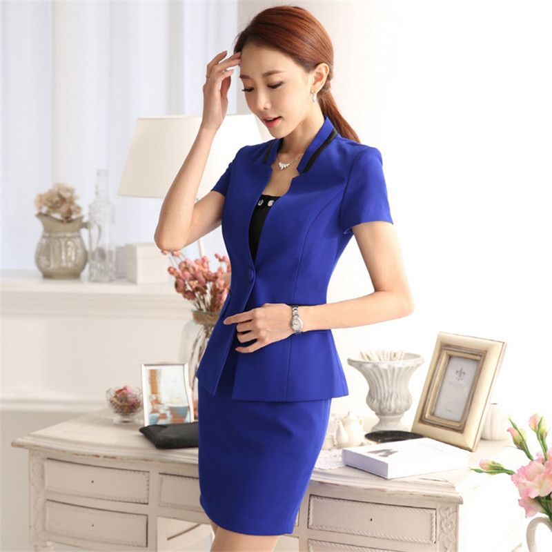 dd69eae6a195ce wholesale Professional summer business suit for women plus size skirt suits  slim work wear office ladies short sleeve blazer with ...