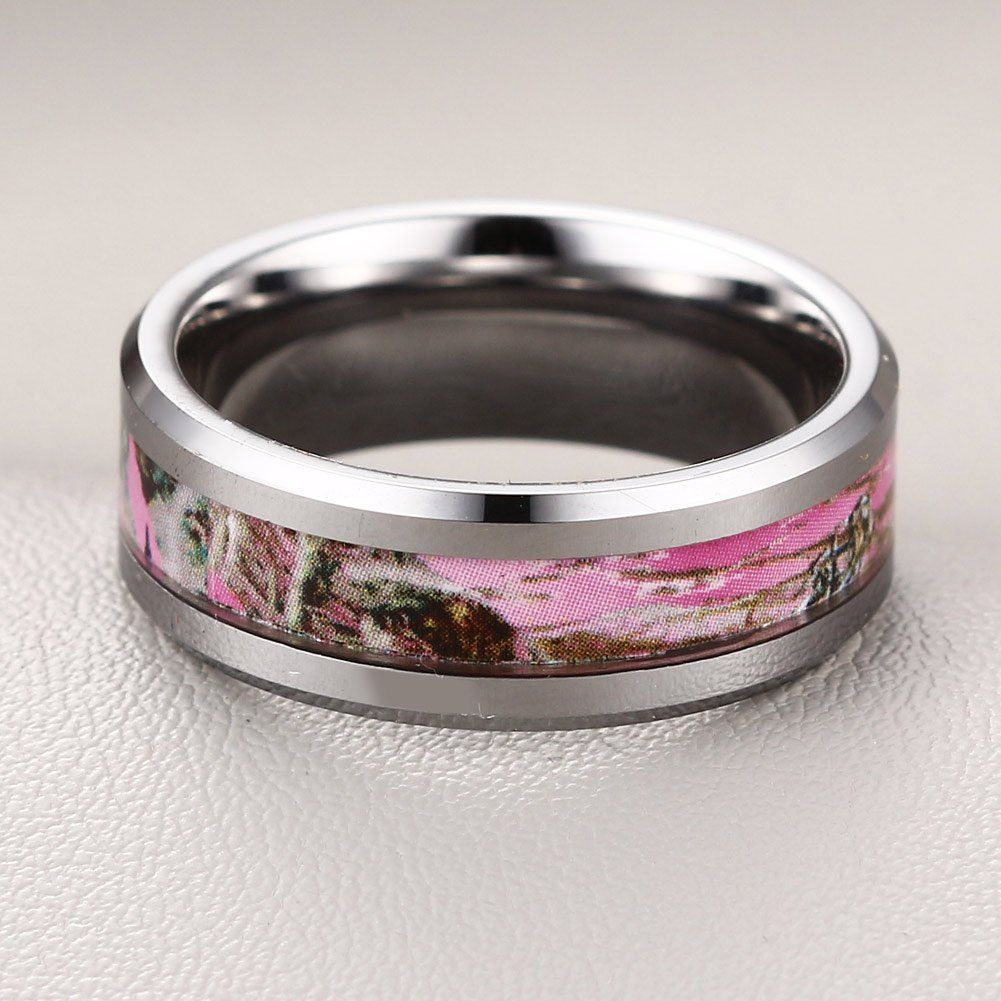 Caperci 8MM Men's Hunting Camouflage Tungsten Wedding Band