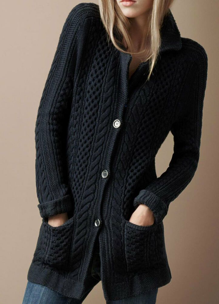 307220176 Details about Women s Hand Knitted Coat XS
