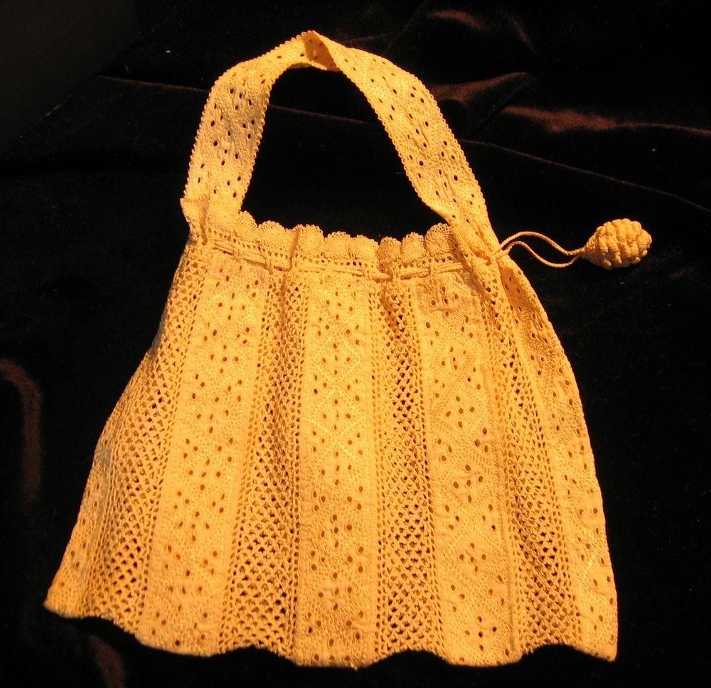 Antique Vintage Lace Insertion Crochet Handbag Bag Purse Pinecone ...