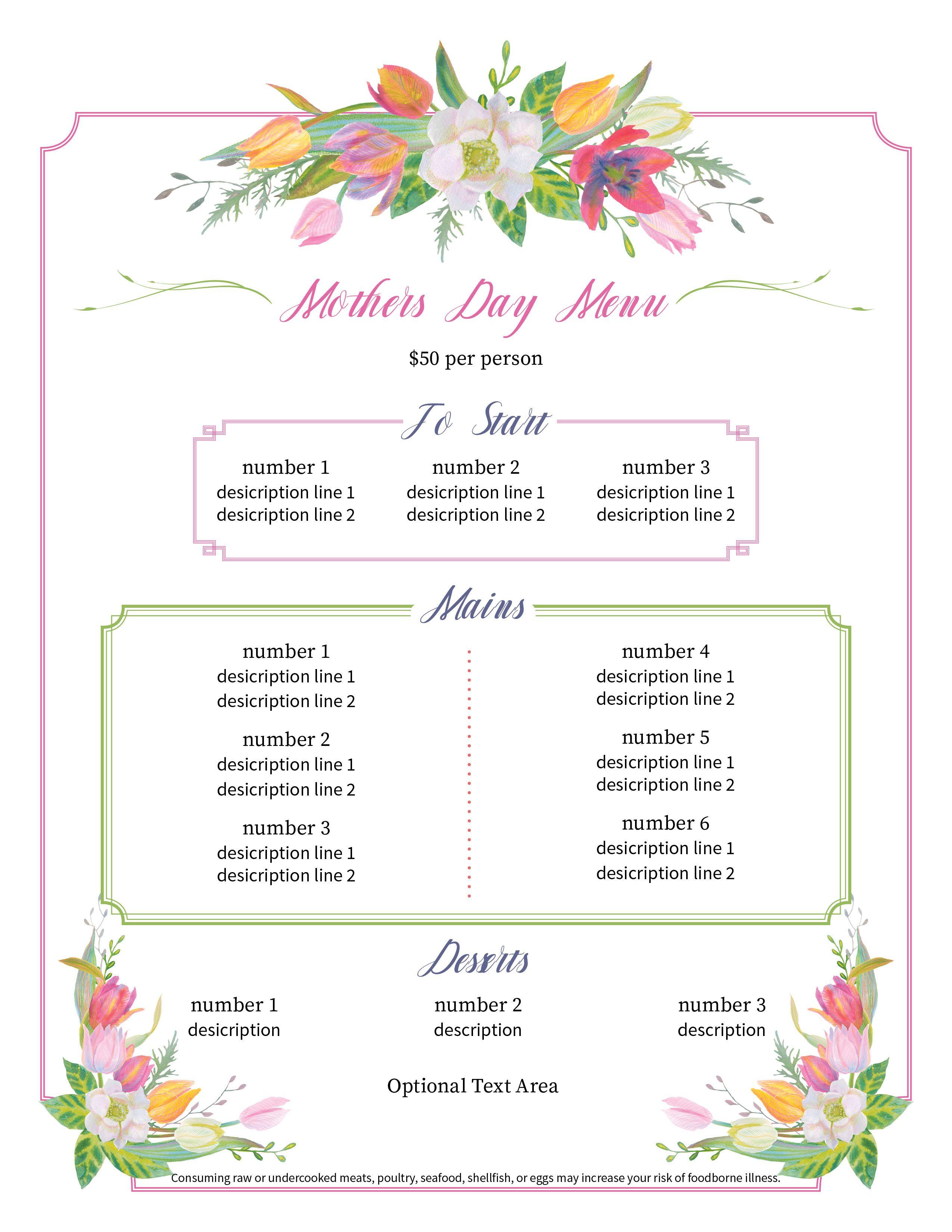 Elegant Mothers Day Menu, editable in Adobe Reader ...