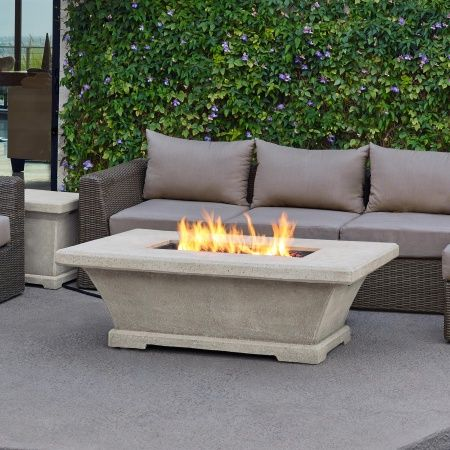 Monaco Rectangle Chat Height Gas Fire Pit Table Cream