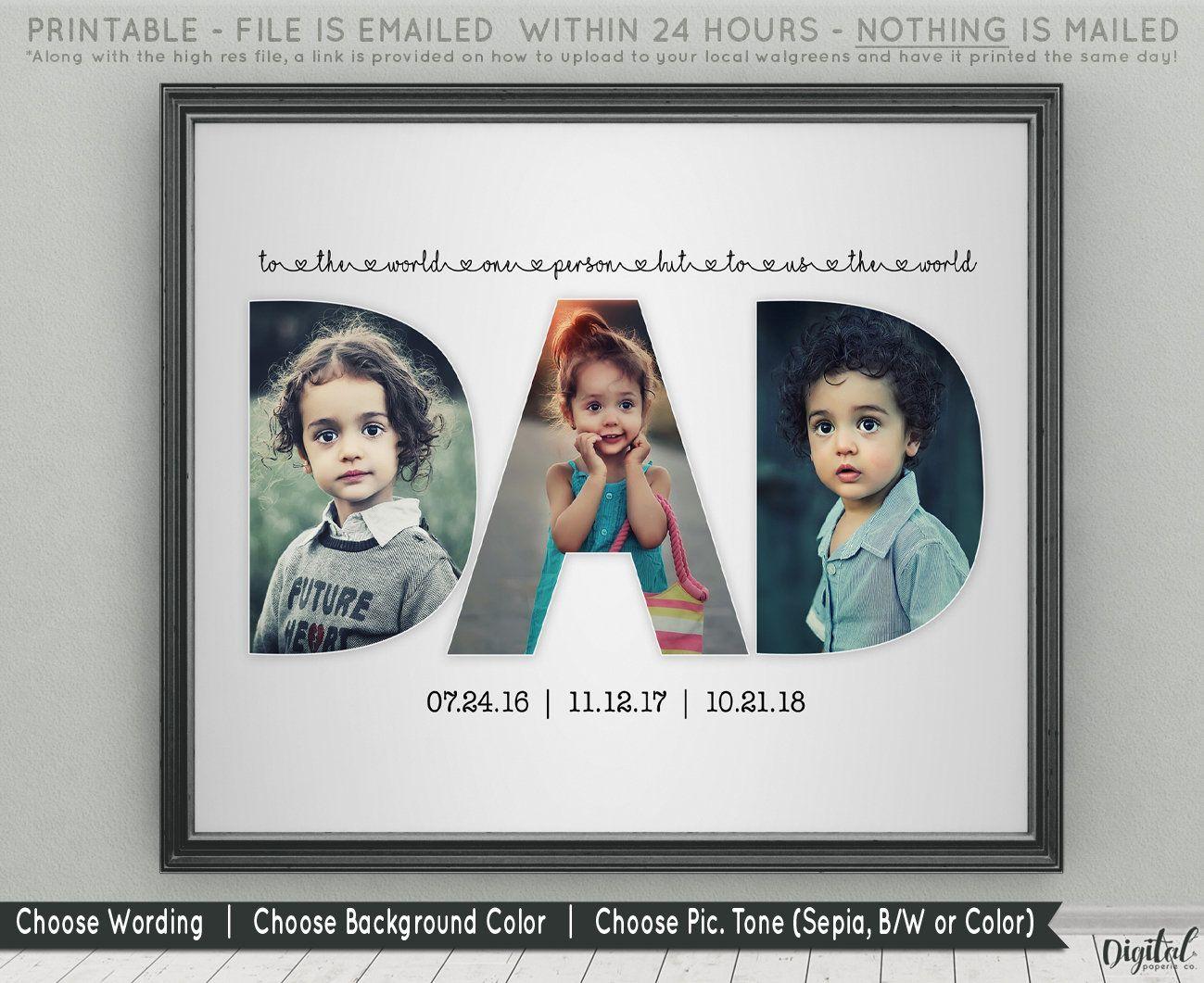 Dad photo collage printable by digitalpaperiestudio on etsy