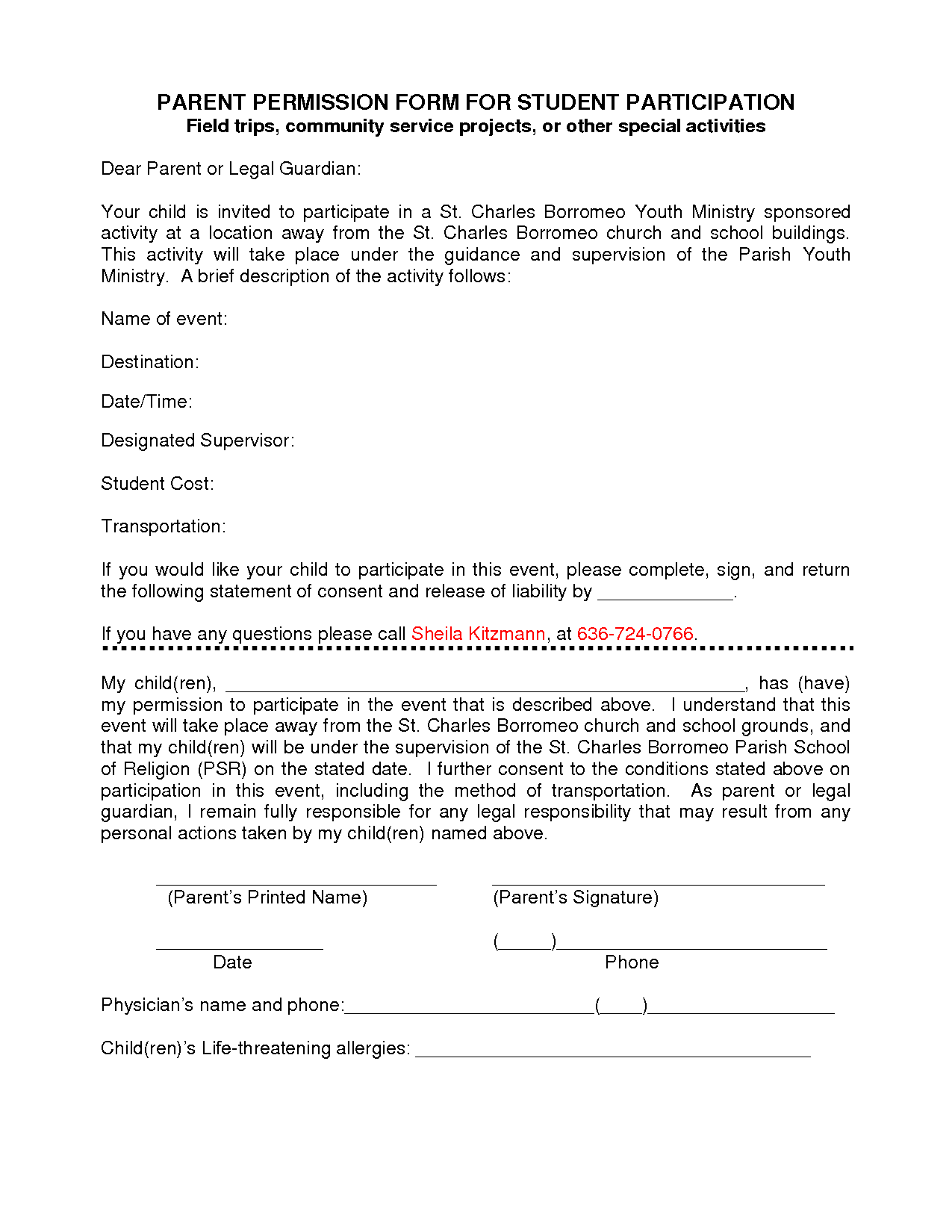 Participation Form Template  Parent Permission Form For Student