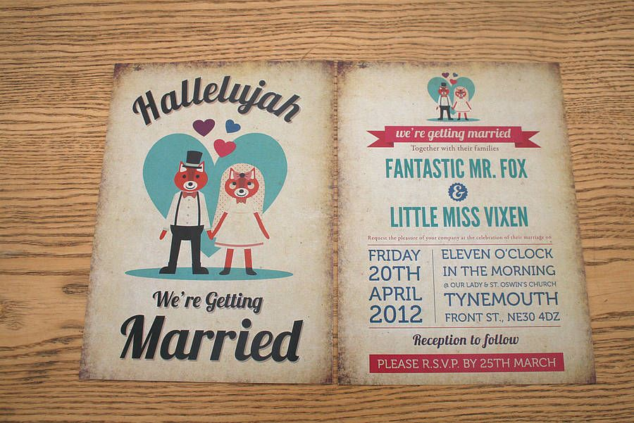 Foxes Themed Retro Wedding Invitation | Retro wedding invitations ...