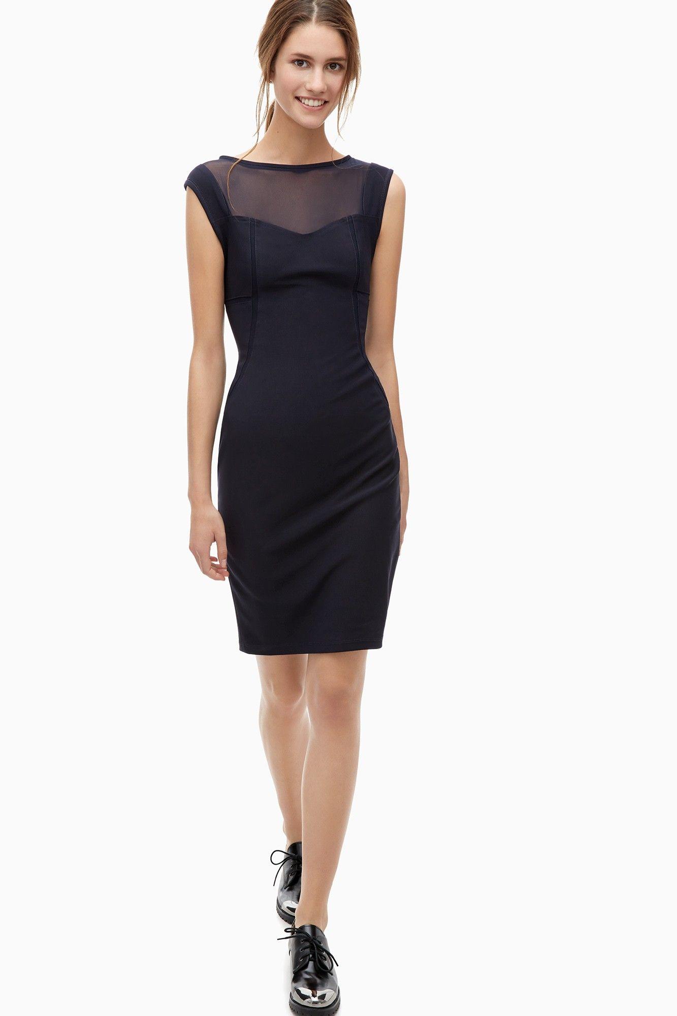 Vestido tubo con escote transparente vestidos adolfo for Vestidos adolfo dominguez outlet online