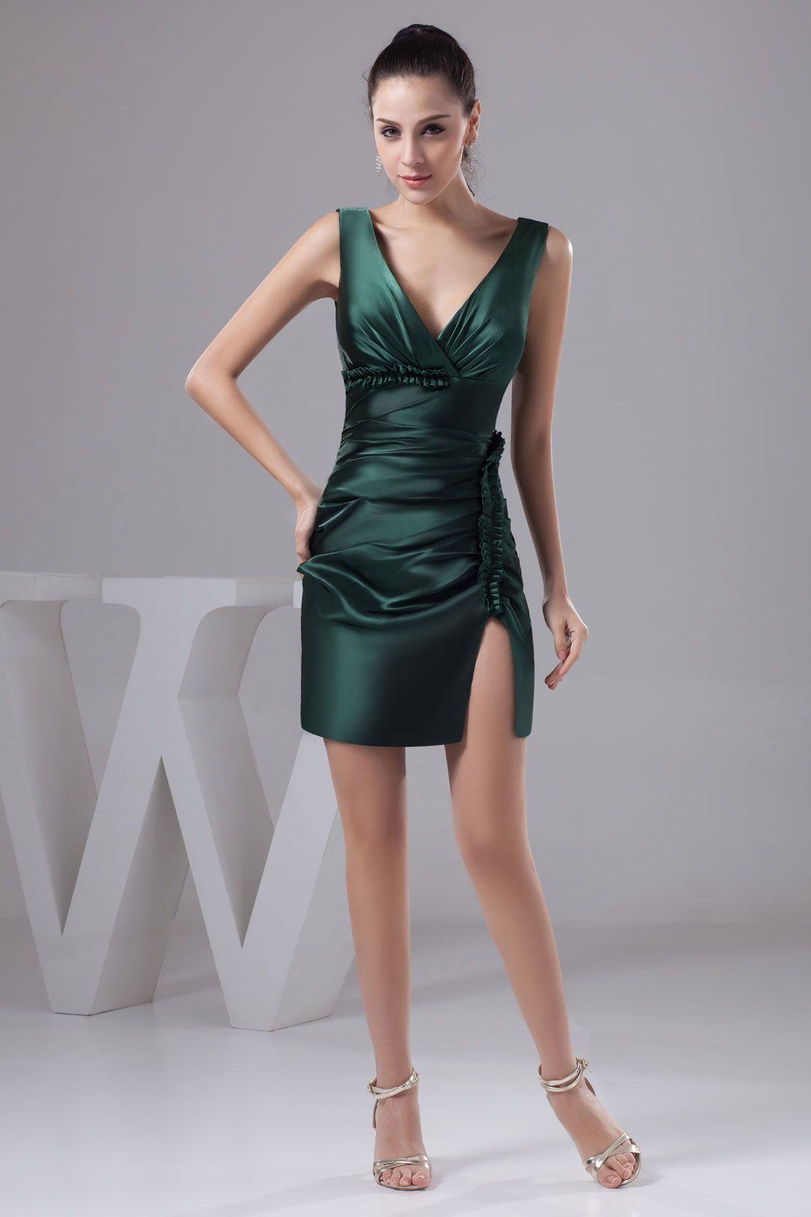Green dress v neck  Hunter Short VNeck Satin Sheath Cocktail Dress With Pleated