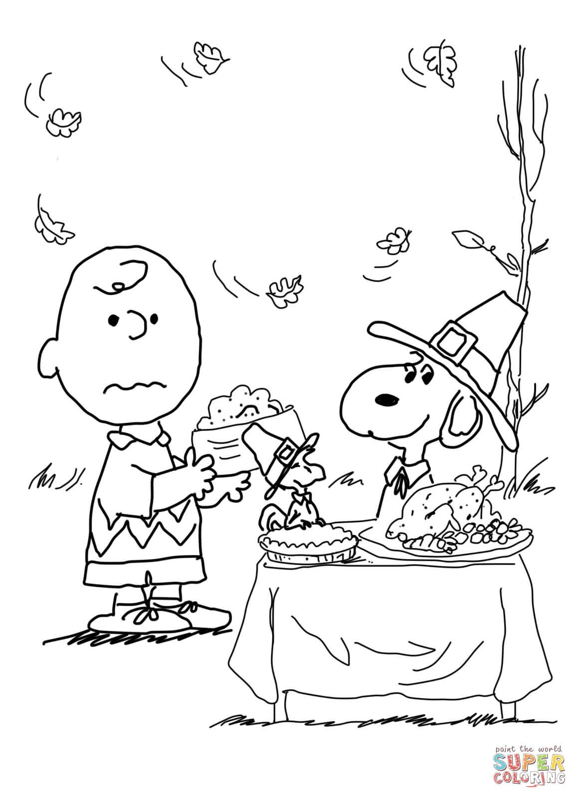 charlie brown thanksgiving coloring page from peanuts category