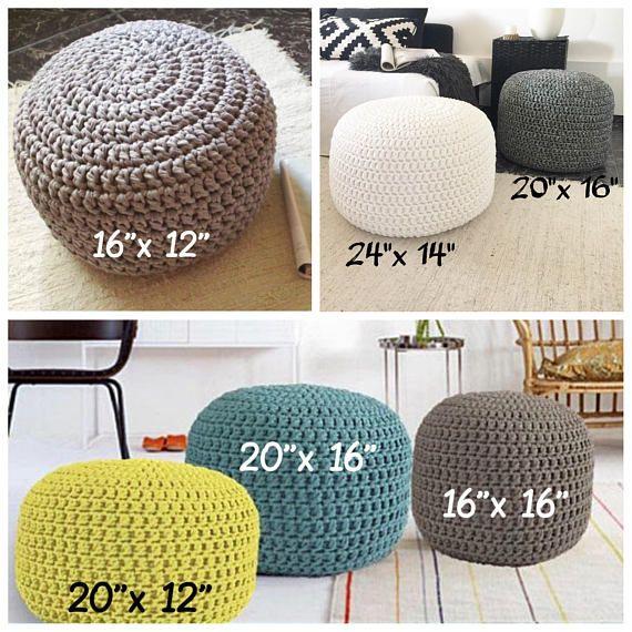 Blush Pink Crochet Pouf Ottoman Nursery Footstool Floor Cushion