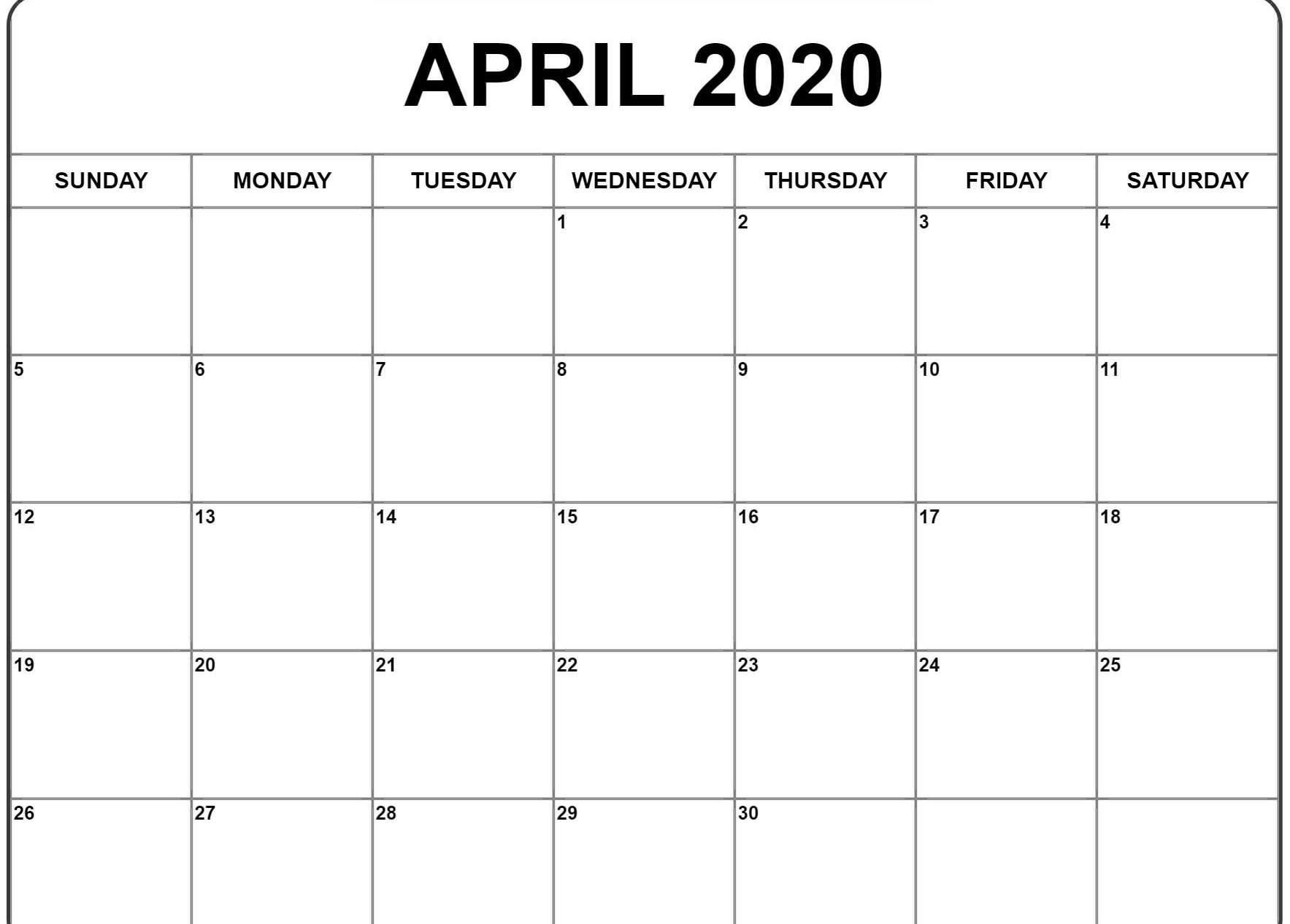 April 2020 Calendar Printable.April 2020 Calendar Blank Template Free Printable Calendar