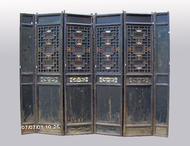 Rare 6-Panel Chinese Antique Carved Wooden Screen Room Divider - Rare 6-Panel Chinese Antique Carved Wooden Screen Room Divider