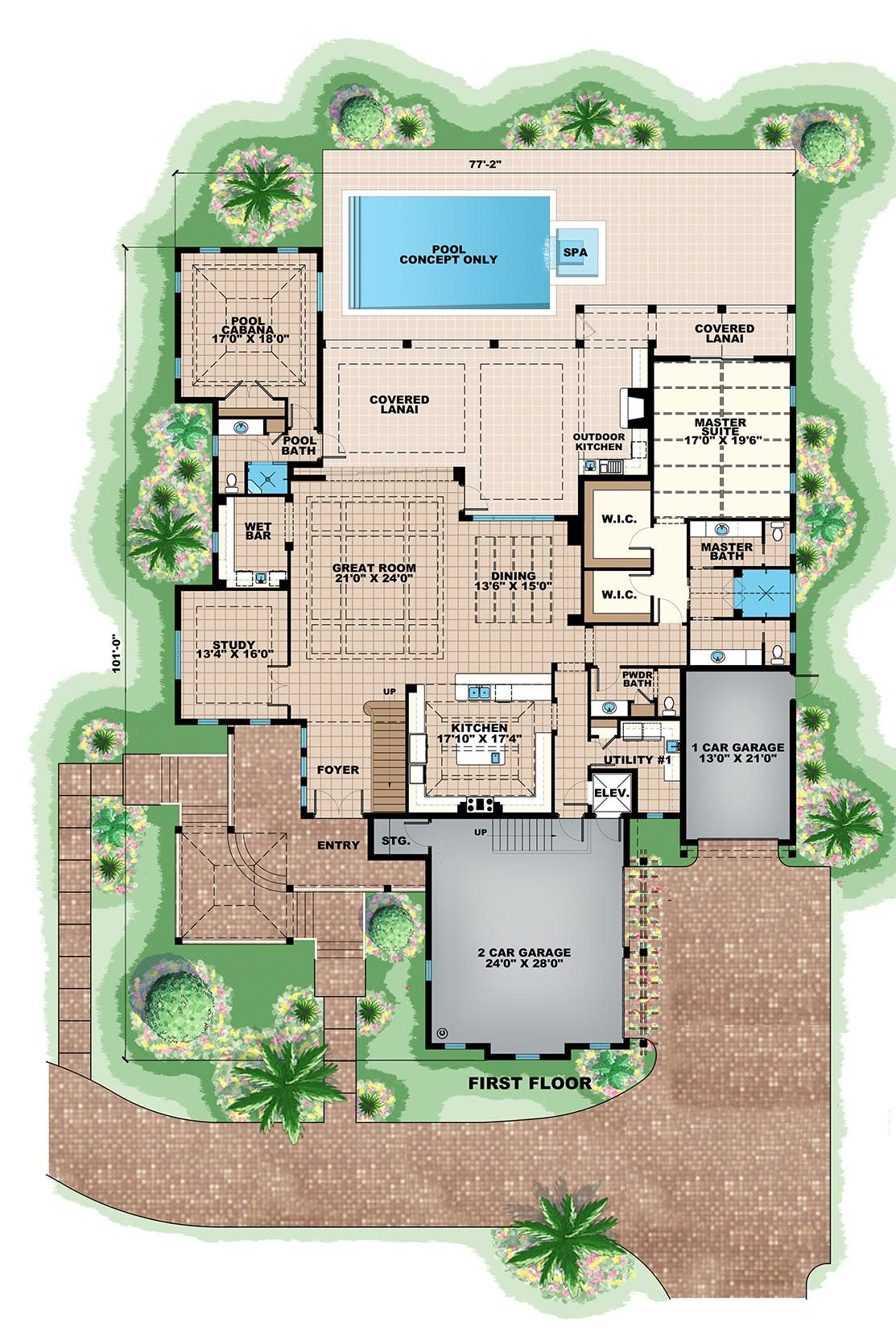 Beach Style House Plan 5 Beds 6 5 Baths 8791 Sq Ft Plan