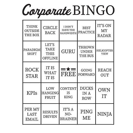 Corporate Jargon Buzzword Bingo Card Buzzword Bingo Bingo Cards
