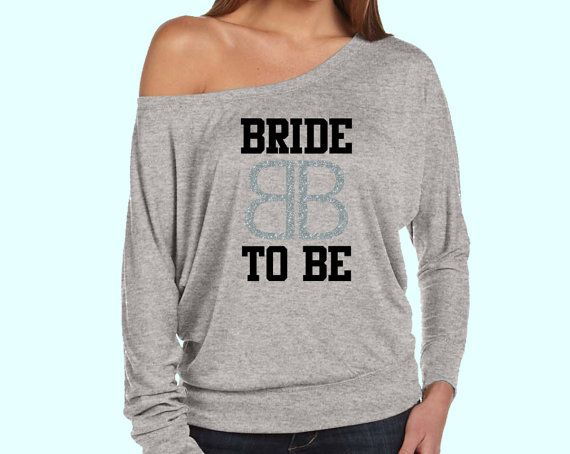 Bride To Be with Bride Logo Print Slouchy off Shoulder by AMBridal, $25.99