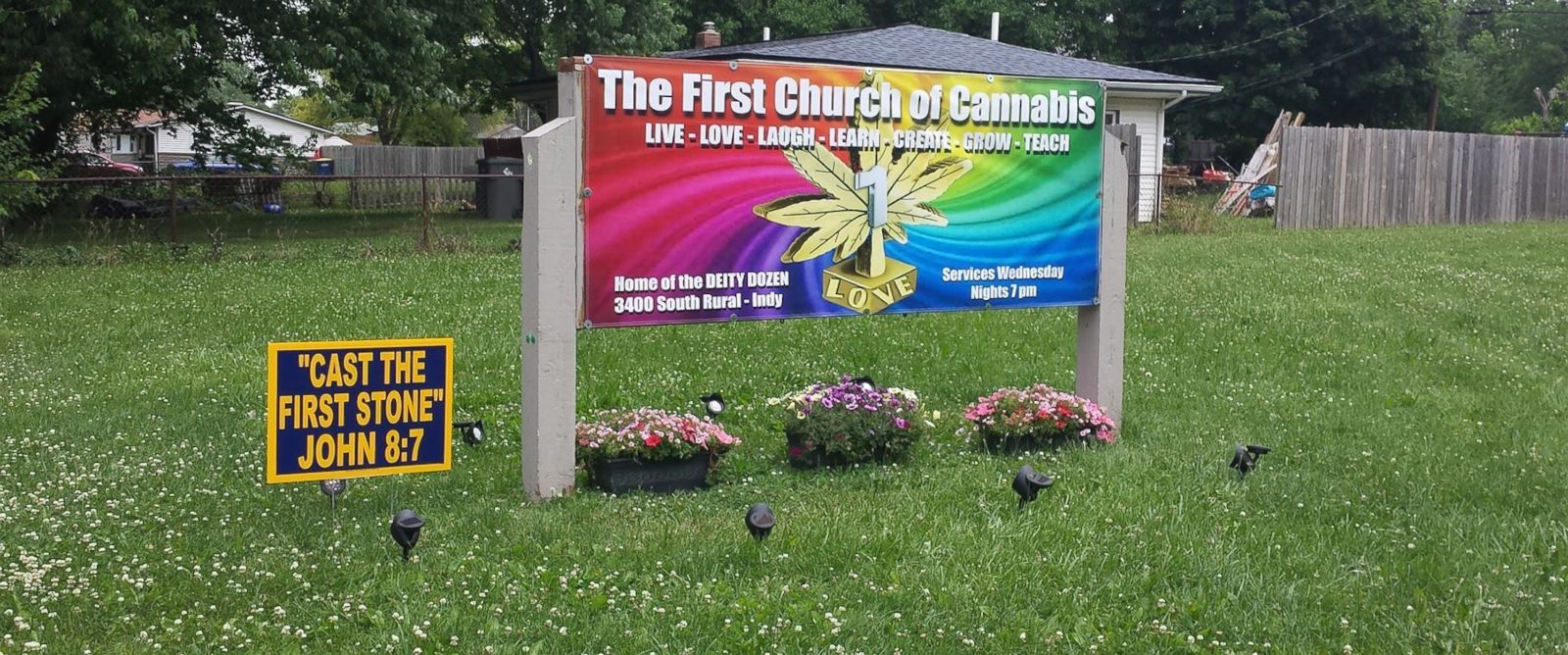 "PHOTO: The First Church of Cannabis, located in Indiana, treats the flowering herb as a sacrament. Seen here, a photo of a sign advertising services was posted on the Facebook page for ""The First Church of Cannabis"" on June 14, 2015."
