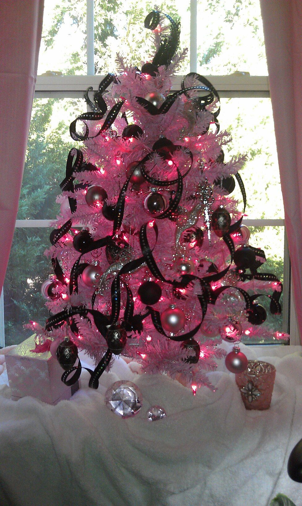 My Pink Christmas Tree Lights With Black And Silver Ornaments