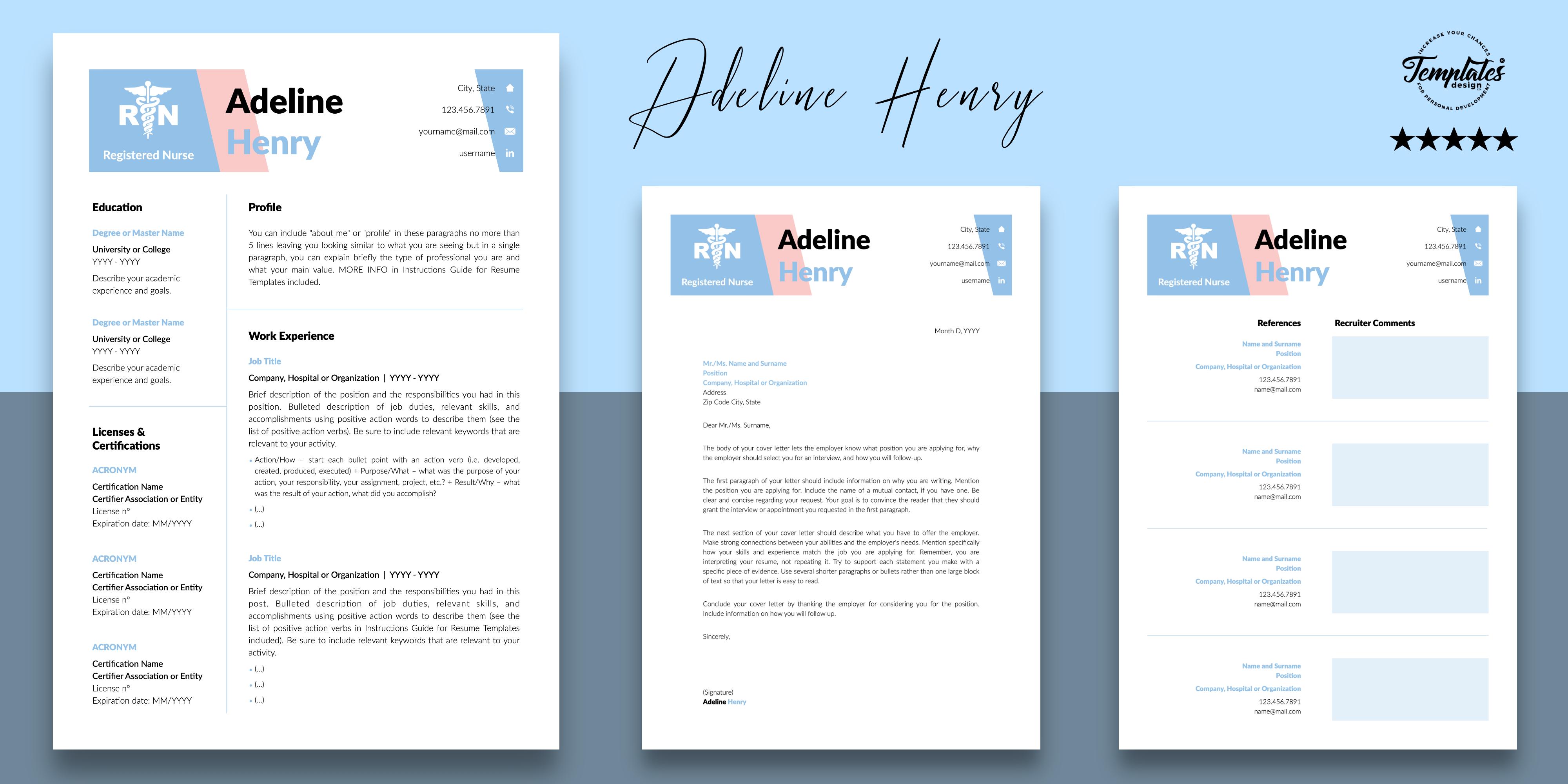 Nurse Resume Cv Template For Microsoft Word Apple Pages Nursing Resume Template Cv Template Downloadable Resume Template