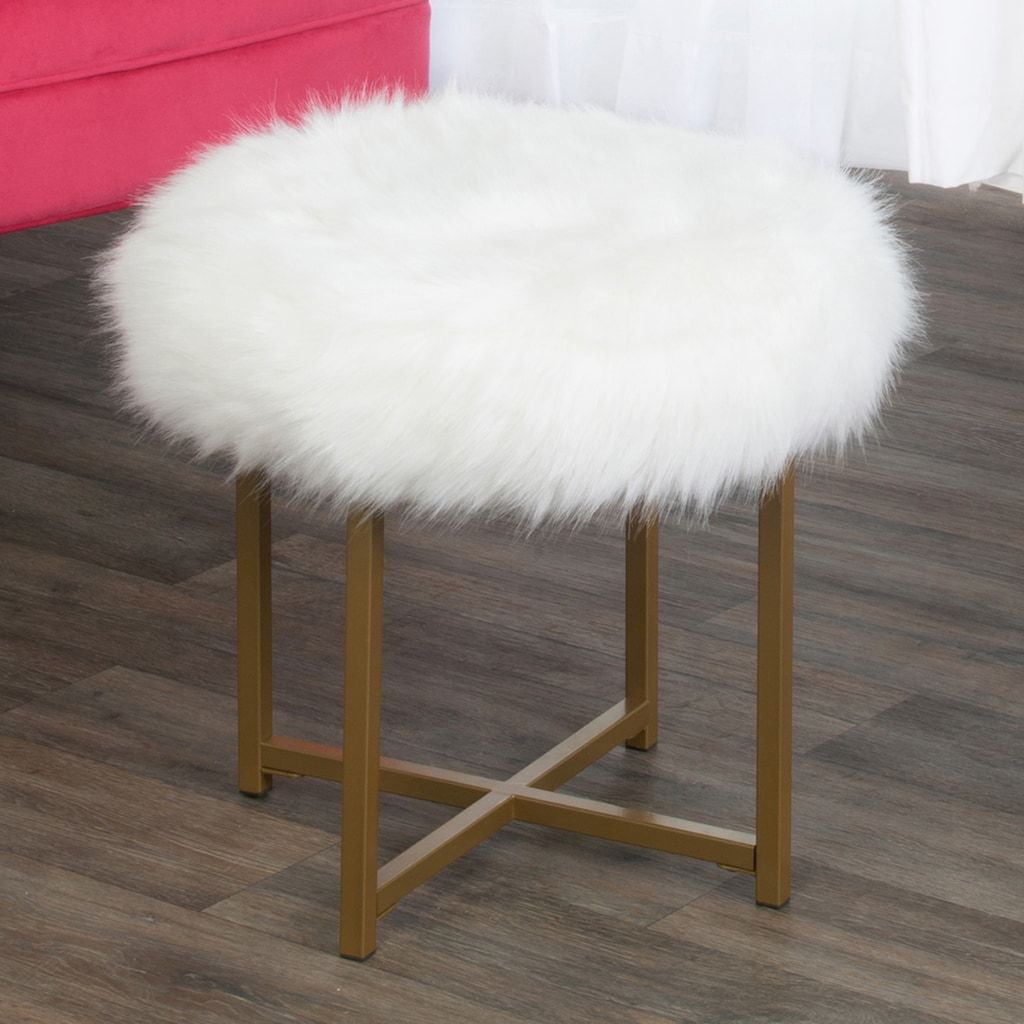 HomePop Round FauxFur Stool End Table, White Homepop