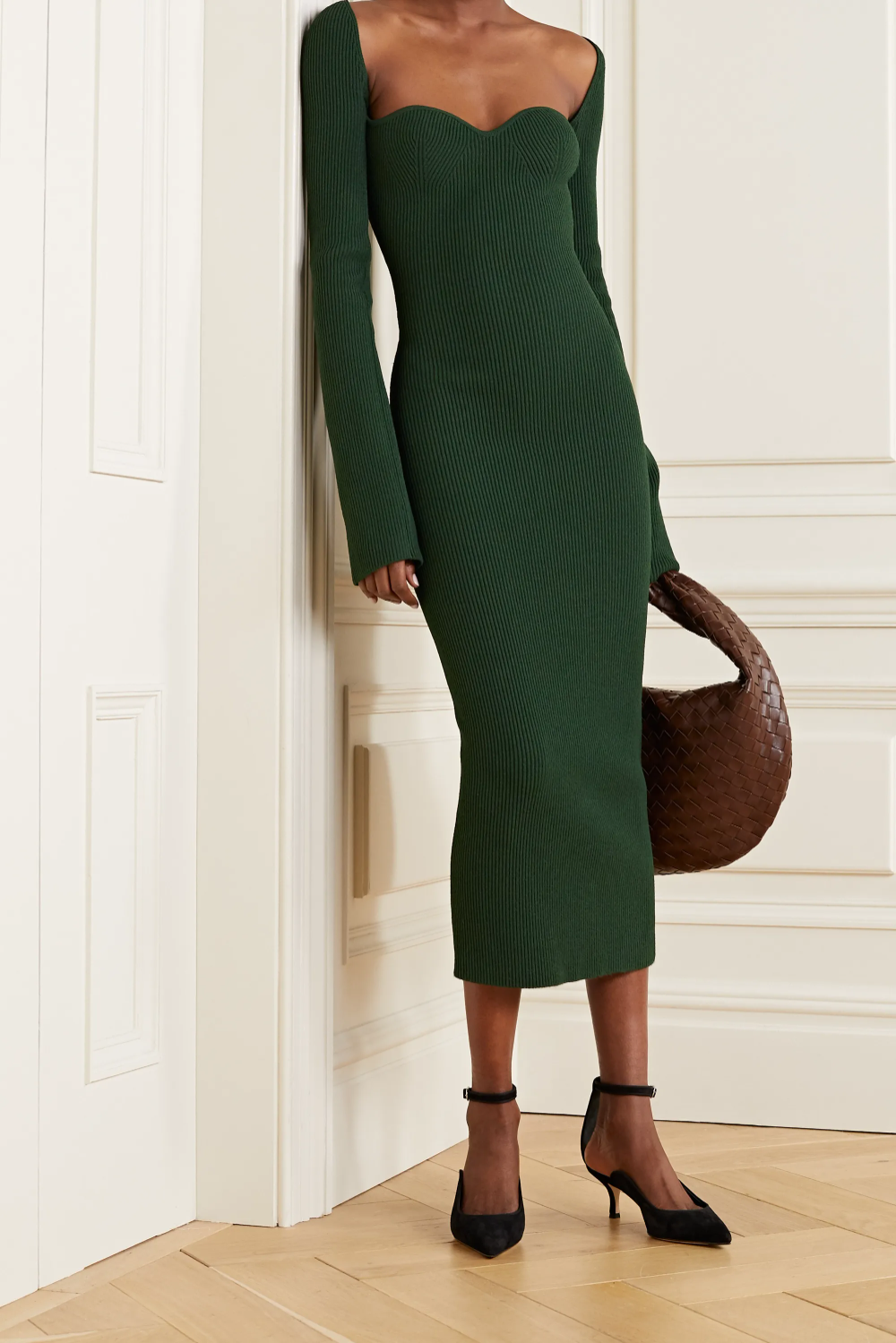 Green Beth Ribbed Knit Midi Dress Khaite Knit Midi Dress Ribbed Dresses Midi Dress [ 1499 x 1000 Pixel ]